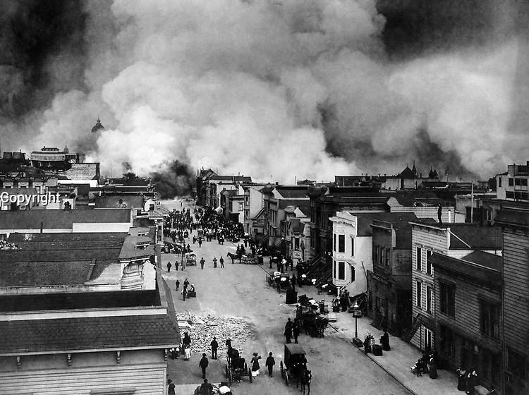 Burning of San Francisco, Mission District<br /> <br /> San Francisco 1906 Earthquake  - The San Francisco earthquake of 1906 was a major earthquake that struck San Francisco and the coast of Northern California at 5:12 a.m. on Wednesday, April 18, 1906. Devastating fires broke out in the city and lasted for several days. As a result of the quake and fires, about 3,000 people died and over 80% of San Francisco was destroyed.<br /> <br /> The earthquake and resulting fire are remembered as one of the worst natural disasters in the history of the United States