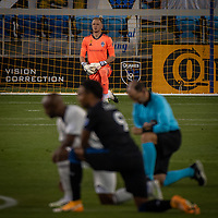 SAN JOSE, CA - SEPTEMBER 05: William Yarbrough #50 kneels during a game between Colorado Rapids and San Jose Earthquakes at Earthquakes Stadium on September 05, 2020 in San Jose, California.