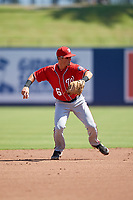 Washington Nationals shortstop Jackson Cluff (6) throws to first base during an Instructional League game against the Miami Marlins on September 26, 2019 at FITTEAM Ballpark of The Palm Beaches in Palm Beach, Florida.  (Mike Janes/Four Seam Images)