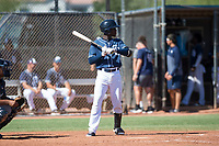 San Diego Padres second baseman Jordy Barley (15) at bat during an Instructional League game against the Milwaukee Brewers at Peoria Sports Complex on September 21, 2018 in Peoria, Arizona. (Zachary Lucy/Four Seam Images)
