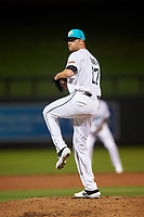 Salt River Rafters relief pitcher Ashton Goudeau (17), of the Colorado Rockies organization, during an Arizona Fall League game against the Mesa Solar Sox on September 19, 2019 at Salt River Fields at Talking Stick in Scottsdale, Arizona. Salt River defeated Mesa 4-1. (Zachary Lucy/Four Seam Images)