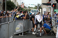 Tony Martin (DEU/Etixx-Quickstep) being stopped by marshals to cut off his transponder, while being followed closely by the press wanting the hear why he done his worst time trial in years...<br /> <br /> Elite Men TT<br /> UCI Road World Championships / Richmond 2015