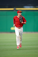 Clearwater Threshers center fielder Mickey Moniak (2) jogs to the dugout during a game against the Florida Fire Frogs on June 1, 2018 at Spectrum Field in Clearwater, Florida.  Florida defeated Clearwater 12-10.  (Mike Janes/Four Seam Images)