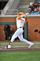 University of Tennessee Zack Daniels (5) swings at a pitch during a game against Western Illinois at Lindsey Nelson Stadium on February 15, 2020 in Knoxville, Tennessee. The Volunteers defeated Leathernecks 19-0. (Tony Farlow/Four Seam Images)