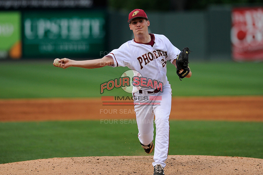 Pitcher Kyle Webb (24) of the Elon Phoenix throws in a game against the Furman Paladins in a first-round Southern Conference playoffs game on Wednesday, May 22, 2013, at Fluor Field at the West End in Greenville, South Carolina. Furman won, 10-1. (Tom Priddy/Four Seam Images)