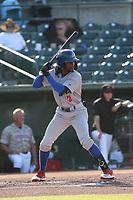 Sahid Valenzuela (2) of the Stockton Ports bats against the Inland Empire 66ers at San Manuel Stadium on June 27 2021 in San Bernardino, California. (Larry Goren/Four Seam Images)