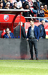 Nederland, Utrecht, 5 april 2015<br /> Eredivisie<br /> Seizoen 2014-2015<br /> FC Utrecht-Ajax (1-1)<br /> Frank de Boer, trainer-coach van Ajax