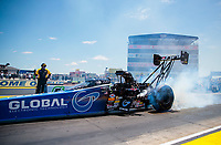 Jul 11, 2020; Clermont, Indiana, USA; NHRA top fuel driver Tony Schumacher during qualifying for the E3 Spark Plugs Nationals at Lucas Oil Raceway. This is the first race back for NHRA since the start of the COVID-19 global pandemic. Mandatory Credit: Mark J. Rebilas-USA TODAY Sports