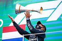 HAMILTON Lewis (gbr), Mercedes AMG F1 GP W11 Hybrid EQ Power+ podium during the Formula 1 Aramco Grosser Preis Der Eifel 2020, Eifel Grand Prix, from October 9 to 11, 2020 on the Nürburgring, in Nürburg, Germany <br /> Nurburg Nurburging 11-10-2020 Formula 1 GP Eifel Germania <br /> Foto Dppi/Panoramic/Insidefoto <br /> ITALY ONLY