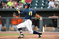 Shortstop Andres Gimenez (13) of the Columbia Fireflies in a game against the Augusta GreenJackets on Sunday, July 30, 2017, at Spirit Communications Park in Columbia, South Carolina. Augusta won, 6-0. (Tom Priddy/Four Seam Images)