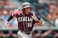 Texas A&M Aggies shortstop Mikey Reynolds #16 runs to first base during the NCAA baseball game against the Texas Longhorns on April 28, 2012 at UFCU Disch-Falk Field in Austin, Texas. The Aggies beat the Longhorns 12-4. (Andrew Woolley / Four Seam Images).
