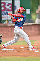 Johnson City Cardinals second baseman Eliezer Alvarez (11) swings at a pitch during a game against the Elizabethton Twins on July 30, 2015 in Elizabethton, Tennessee. The Twins defeated the Cardinals 13-4. (Tony Farlow/Four Seam Images)