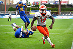 FRISCO, TX - MAY 16: Jequez Ezzard #12 of the Sam Houston State Bearkats catches a touchdown pass over South Dakota State Jackrabbits defenders during the Division I FCS Football Championship held at Toyota Stadium on May 16, 2021 in Frisco, Texas. (Photo by Andy Hancock/NCAA Photos)