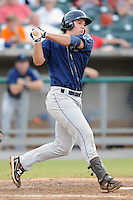 The Mobile BayBears first baseman Ryan Wheeler #45 swings at a pitch during  game four of the Southern League Championship Series between the Mobile Bay Bears and the Tennessee Smokies at Smokies Park on September 18, 2011 in Kodak, Tennessee.  The BayBears won the Southern League Championship 6-4.  (Tony Farlow/Four Seam Images)