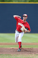 Jon Harris (32) of the Vancouver Canadians pitches during a game against the Eugene Emeralds at Nat Bailey Stadium on July 22, 2015 in Vancouver, British Columbia, Canada. Vancouver defeated Eugene, 4-2. (Larry Goren/Four Seam Images)