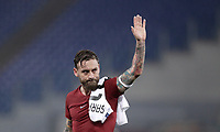 Football Soccer: UEFA Champions League AS Roma vs Qarabag FK Stadio Olimpico Rome, Italy, December 5, 2017. <br /> Roma's captain Daniele De Rossi celebrates after winning 1-0 the Uefa Champions League football soccer match between AS Roma and Qarabag FK at at Rome's Olympic stadium, December 05, 2017.<br /> AS Roma reachs Champions League last 16.<br /> UPDATE IMAGES PRESS/Isabella Bonotto
