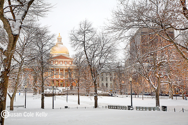 Fresh snow at the Massachusetts State House, Boston Common, Boston, MA
