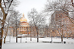 Fresh snow at the Massachusetts State House, Boston Common, Boston, MA