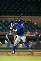 AZL Rangers center fielder Myles McKisic (9) at bat against the AZL Giants on August 22 at Scottsdale Stadium in Scottsdale, Arizona. AZL Rangers defeated the AZL Giants 7-5. (Zachary Lucy/Four Seam Images via AP Images)