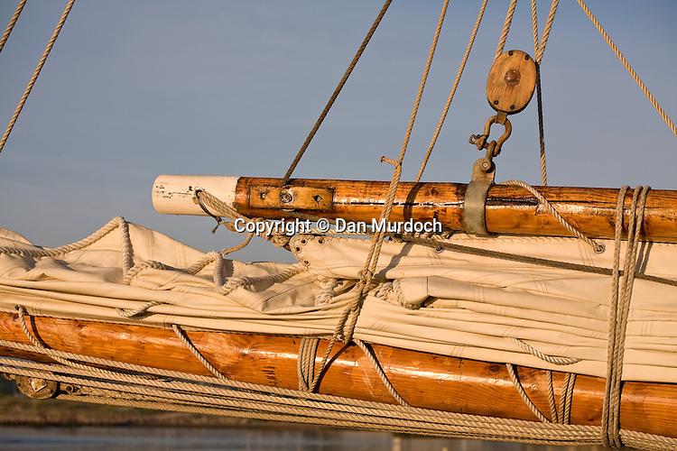 Schooner sail flaked neatly