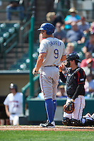 Durham Bulls third baseman Richie Shaffer (9) at bat during a game against the Rochester Red Wings on July 20, 2016 at Frontier Field in Rochester, New York.  Rochester defeated Durham 6-2.  (Mike Janes/Four Seam Images)