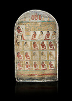 Ancient Egyptian family stele of chief scribe Horhernakht, son of Khety, Middle Kingdom, 2nd half of 12th Dynasty (1850-1759 BC).  Egyptian Museum, Turin. Grey background. Old Fund cat 1613.