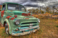 Old Dodge Truck in a New Mexico field - Front view.