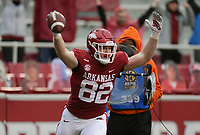 Arkansas tight end Hudson Henry (82) reacts on a touchdown that was later overturned, Saturday, November 21, 2020 during the third quarter of a football game at Donald W. Reynolds Razorback Stadium in Fayetteville. Check out nwaonline.com/201122Daily/ for today's photo gallery. <br /> (NWA Democrat-Gazette/Charlie Kaijo)