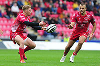 Angus O'Brien of Scarlets in action during the Guinness Pro14 Round 02 match between the Scarlets and Zebre Rugby at the Parc Y Scarlets Stadium in Llanelli, Wales, UK. Saturday 12 October 2019
