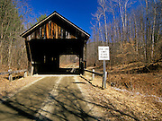 Salmond Covered Bridge in Weathersfield, Vermont USA. This covered bridge crosses over Sherman Brook.