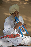 Hindu traditional Flute player, Thar desert, Rajasthan, India