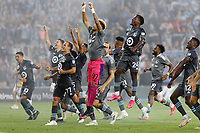 SAINT PAUL, MN - JUNE 23: Minnesota United FC players celebrate the win after a game between Austin FC and Minnesota United FC at Allianz Field on June 23, 2021 in Saint Paul, Minnesota.