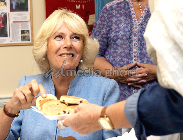 08 July 2015 - Llandovery, Wales - Camilla, Duchess of Cornwall laughs as she visits the Llandovery YMCA in Llandovery, Wales. Llandovery YMCA was founded in 1990 to provide a safe meeting place for the young people of the town and surrounding villages. Photo Credit: Alpha Press/AdMedia
