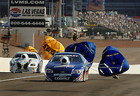 Apr 9, 2006; Las Vegas, NV, USA; NHRA Pro Stock driver Kurt Johnson, driver of the AC Delco Chevrolet Cobalt slows to a stop after defeating Dave Connelly in the final round of Pro Stock at the Summitracing.com Nationals at Las Vegas Motor Speedway in Las Vegas, NV. Mandatory Credit: Mark J. Rebilas