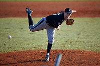 Edgewood Eagles pitcher Steve Gavin (15) delivers a pitch during the first game of a doubleheader against the Lasell Lasers on April 14, 2016 at Terry Park in Fort Myers, Florida.  Edgewood defeated Lasell 9-7.  (Mike Janes/Four Seam Images)