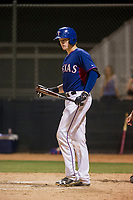 AZL Rangers catcher Sam Huff steps into the batters box against the AZL Padres 2 on August 2, 2017 at the Texas Rangers Spring Training Complex in Surprise, Arizona. Padres 2 defeated the Rangers 6-3. (Zachary Lucy/Four Seam Images)