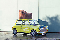 Vintage Mini identical to the one that Mr Bean drove while sat on the roof in an armchair.