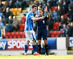St Johnstone v Celtic...13.12.15  SPFL  McDiarmid Park, Perth<br /> Steven MacLean complains to ref Crawford Allan about a two footed challenge<br /> Picture by Graeme Hart.<br /> Copyright Perthshire Picture Agency<br /> Tel: 01738 623350  Mobile: 07990 594431