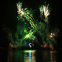 """Nighttime fireworks in famous Epcot's """"IllumiNations: Reflections of Earth"""" show, Walt Disney World Resort, in Bay Lake Orlando, Florida"""