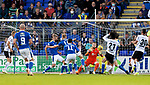 St Johnstone v Lask…26.08.21  McDiarmid Park    Europa Conference League Qualifier<br />Zander Clark saves from Hyon-Seok Hong<br />Picture by Graeme Hart.<br />Copyright Perthshire Picture Agency<br />Tel: 01738 623350  Mobile: 07990 594431