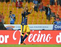 MEDELLÍN - COLOMBIA, 14-11-2018: Juan F Caicedo del Medellín celebra después de anotar el primer gol de su equipo al Bucaramanga durante partido de ida cuartos de final entre Deportivo Independiente Medellín y Atlético Bucaramanga como parte de la Liga Águila II 2018 jugado en el estadio Atanasio Girardot de la ciudad de Medellín. / Juan F Caicedo of Medellin celebrates after scoring the first goal of his team to Bucaramanga during Quarter Final first leg match between Deportivo Independiente Medellin and Atletico Bucaramanga as a part Aguila League II 2018 played at Atanasio Girardot stadium in Medellin city. Photo: VizzorImage / Leon Monsalve / Cont