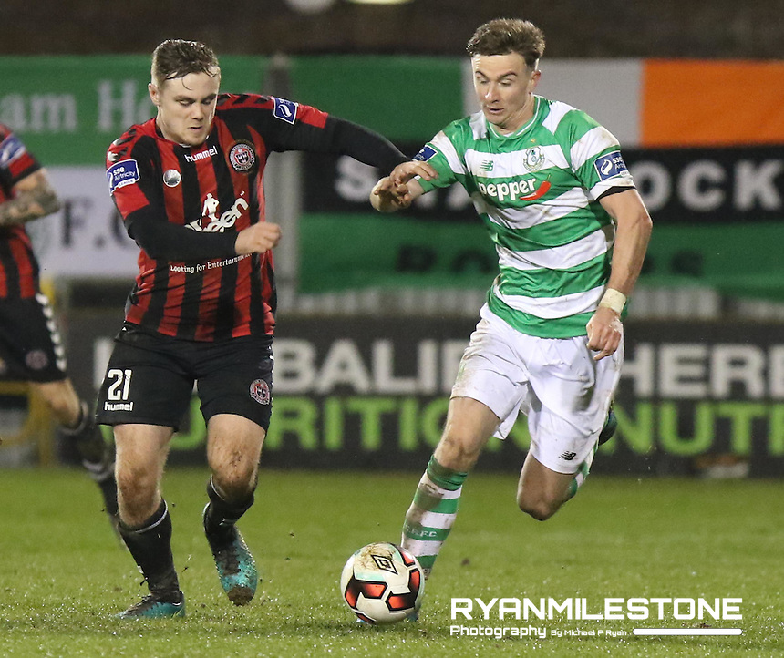SSE Airtricity League Premier Division game between Shamrock Rovers and Bohemians at Tallaght Stadium, Dublin, Friday 3rd March 2017.Bohemians Georgie Poynton in action against Shamrock Rovers Ronan Finn, Photo Credit: Michael P Ryan