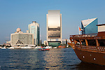United Arab Emirates, Dubai: View over the Dubai Creek with the National Bank of Dubai and Dhow in foreground