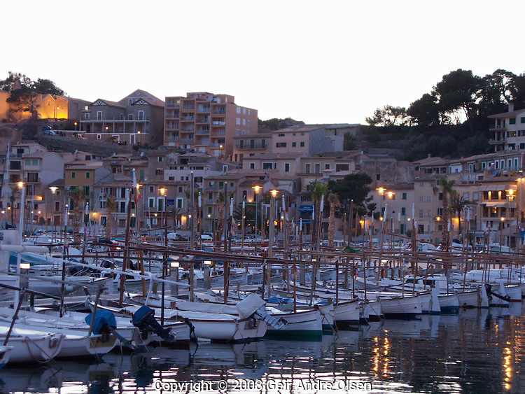 Fishingboats in the harbour at Port Soller, Majorca, Spain