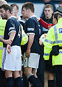 Raith's Dougie Hill (5) gets involved in an incident as the players head down the tunnel at half time and get a red card from Referee Crawford Allan during the break ...