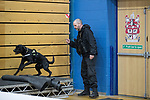 © Joel Goodman - 07973 332324 . 23/02/2017 . Stoke-on-Trent , UK . Police and sniffer dogs carry out a security check at the count in the by-election for the constituency of Stoke-on-Trent Central , at Fenton Manor Sports Complex . Photo credit : Joel Goodman