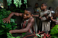 Pygmies bring 32 different varieties of leaves to the Okapi Faunal Reserve to feed the captive Okapis.  The Bantus then take the leaves and feed the Okapis.
