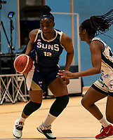 Janice Monakana of Sevenoaks Suns during the WBBL Championship match between Sevenoaks Suns and Newcastle Eagles at Surrey Sports Park, Guildford, England on 20 March 2021. Photo by Liam McAvoy