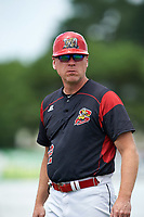 Batavia Muckdogs coach T.J. Gamba (12) during a game against the Tri-City ValleyCats on July 16, 2017 at Dwyer Stadium in Batavia, New York.  Tri-City defeated Batavia 13-8.  (Mike Janes/Four Seam Images)