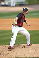 North Carolina Central Eagles relief pitcher Chris Krennrich (14) in action against the North Carolina A&T Aggies at Durham Athletic Park on April 10, 2021 in Durham, North Carolina. (Brian Westerholt/Four Seam Images)